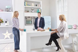 L to R: Fearne Cotton with Smeg UK's brand manager John Davies and commercial director Jill Ashford