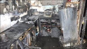 Image from LFB report of fire damage in Shepherds Bush flat