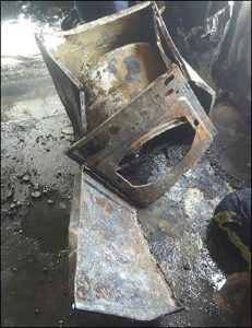 Image from LFB report of fire damaged Indesit tumble dryer