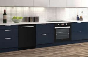 Sharp steam oven and black glass dishwasher