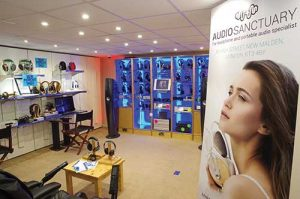 Showroom at Unilet in New Malden also shows signage for its rebranded accessories business, Audio Sanctuary