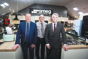 L to R: Smeg UK sales director, Paul Barker; Steve woods, owner of Built-in Kitchen Appliances; and Smeg UK managing director, Mike Giddings