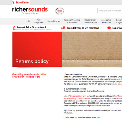 Richer Sounds only retailer to pass Which? returns probe